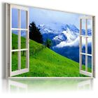 """3D MOUNTAIN VIEW Window View Canvas Wall Art Picture Large SIZE 30X20"""" W272"""