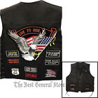Black Solid Leather Motorcycle Vest with 14 Biker Patches Waistcoat Side Laces