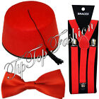 1960'S DOCTOR DR WHO BRITISH CULTURAL FANCY DRESS FEZ HAT RED BOW TIE & BRACES