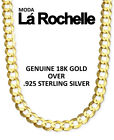 18K Yellow Gold Over Sterling Silver Cuban Necklace - WholesalePrecious Metal without Stones - 164330
