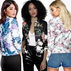Women Long Sleeve Floral Print Basic Zip Coats Autumn Casual Bomber K0E1