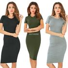 Women Casual O Neck Short Sleeve Solid Bodycon Basic Tee Pencil Maxi K0E1