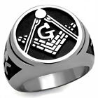 Lucia's Men's Silver Stainless Steel 316L Masonic Freemason Ring Size 8-13