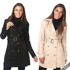 Womens Belted Tailored Lace Fashion Mac Button Down Ladies Trench Coat Jacket