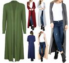 UK New Womens Ladies Maxi Plain Cardigans Longline Sleeves Top Open Jumper