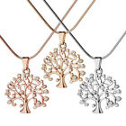 Women Silver Rose Gold Hollow Pendant Tree of Life Crystal Rhinestone Necklace