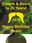 camo mustache 30th Birthday koozies no minimums cheers & beers quick shipping