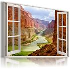 ARIZONA MOUNTAINS RIVER 3D Window Canvas Wall Art Picture Large W500