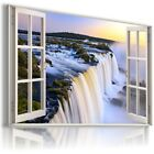 WATERFALL SUNRISE 3D Window Canvas Wall Art Picture Large W505