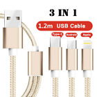 3 in 1 Micro USB Cable For Android iOS Type C Universal Phone Charger Data Cord