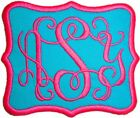 Embroidered Vine Script Name Monogram Iron-On Appliqué Patch Teal Fabric