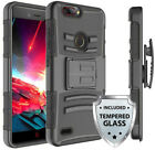 For ZTE Sequoia / Blade Z MAX Heavy Duty Clip Holster Case Cover w/ Glass Screen