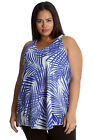New Womens Top Plus Size Ladies Palm Leaf Hanky Hem Chiffon Cami Tank Nouvelle
