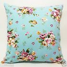 ffa-100 floral on light blue quality canvas pillow cushion cover custom size