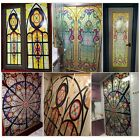 Retro Colorful Privacy Stained Glass Window Film Static Cling Film Decor