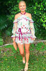 Alexis adeline Off the shoulder Dress Floral Embroidered in Ivory NEW