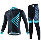 Men Mountain Bike Pants with Padded Cycling Jersey Long Sleeve Bicycle Clothing