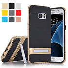 Brushed Shockproof Slim Bumper Case With Stand For Samsung Galaxy S6 S7 Edge