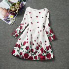 Christmas Gift Dress Princess Long Sleeve Kid Clothes Rose Flower Children Dress