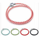 Double Buckle Leather Bracelets Chain Bangle Fit 925 European Charms Beads 40CM