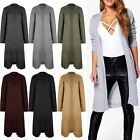 Womens Ladies Chunky Knitted Sweater Open Front Pocket Coat Long Midi Cardigan