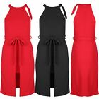 Women Waist Tie Belted High Knot Neck Front Slit Sleeveless Ladies Midi Dress