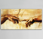 Famous Cotton Creation Of Adam By Michelangelo Canvas Print Painting Wall Decor