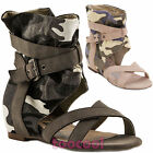 Women's shoes sandals gladiator mimetic camo wedge internal new 11501-MOD