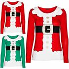 Womens Ladies Christmas Xmas Santa Claus Father Suit Belted Costume T Shirt Top