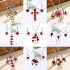 Elegant Natural Real Dried Flower Glass Pendant Necklace Earrings Jewelry Set