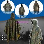 PRO Waterproof Army Hooded Ripstop Festival Rain Poncho Military Camping Hiking
