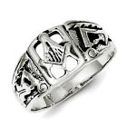 Sterling Silver Antiqued Masonic Ring  QR1239