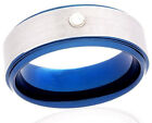 Tungsten Ring 8mm Comfortable Blue And Silver Customized Handmade With Diamond