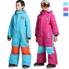 Kids Boys Girls Padded Ski One Piece Outdoor Waterproof Snow Snowboarding Suit