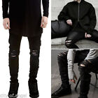 skinny ties.com - US Men's Distressed Ripped Jeans Moto Black Denim Pants Slim Skinny Fit Trousers