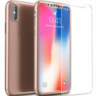 For Apple iPhone X /10 Ultra Hard Cover+ Tempered Glass 360° Full Protect Case