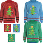 Womens Ladies ChristmasTree Applique Polka Dot Jumper Red Blue Green C35 xmas