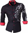 Jeansian Men's Long Sleeves Slim Fit Dress Shirts Casual Hombre Camisas New Z030