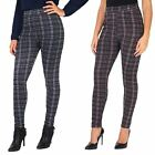 Womens Ladies Warm Fleece Lined Leggings Stretch Check Jeggings Winter Trousers