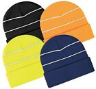 Hi vis beanie hat enhanced with reflective stripes Safety reflective beanie