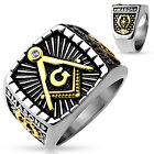 Lucia's Men's Silver Stainless Steel Masonic Freemason Square Ring size 9- 13