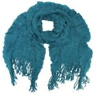 Textured Knit Light Scarf With Fringe