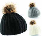 Beechfield Faux Fur Beanie Woolly Winter Ladies Knitted Ski Pom Pom hat