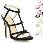Ladies Womens Stiletto High Heel Ankle Strap Peep Toe Barely There Sandals Shoes