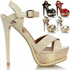 Ladies Women High Heel Patent Strappy Platform Party Prom Peep Toe Sandals Shoes
