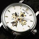 Women Classic Skeleton Winner Leather Strap Automatic Mechanical Dress Watch ss2