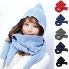 Women Knitted Scarf Hat Braided Girls Winter Hooded Skiing Scarves Snood Wraps