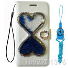 Bling Glitter Quicksand Hourglass Dynamic PU leather wallet Cover Cse & strap 11
