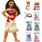 Kids Costume Moana Princess Girls Fancy Dress Cosplay Sundress Clothes Nacklaces