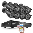 SANNCE 1080P HDMI HD 8CH DVR 1500TVL IR Outdoor CCTV Security Camera System 1TB